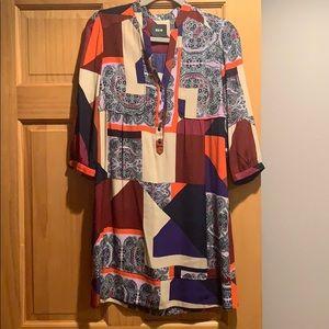 Anthropologie Maeve patchwork pattern dress.